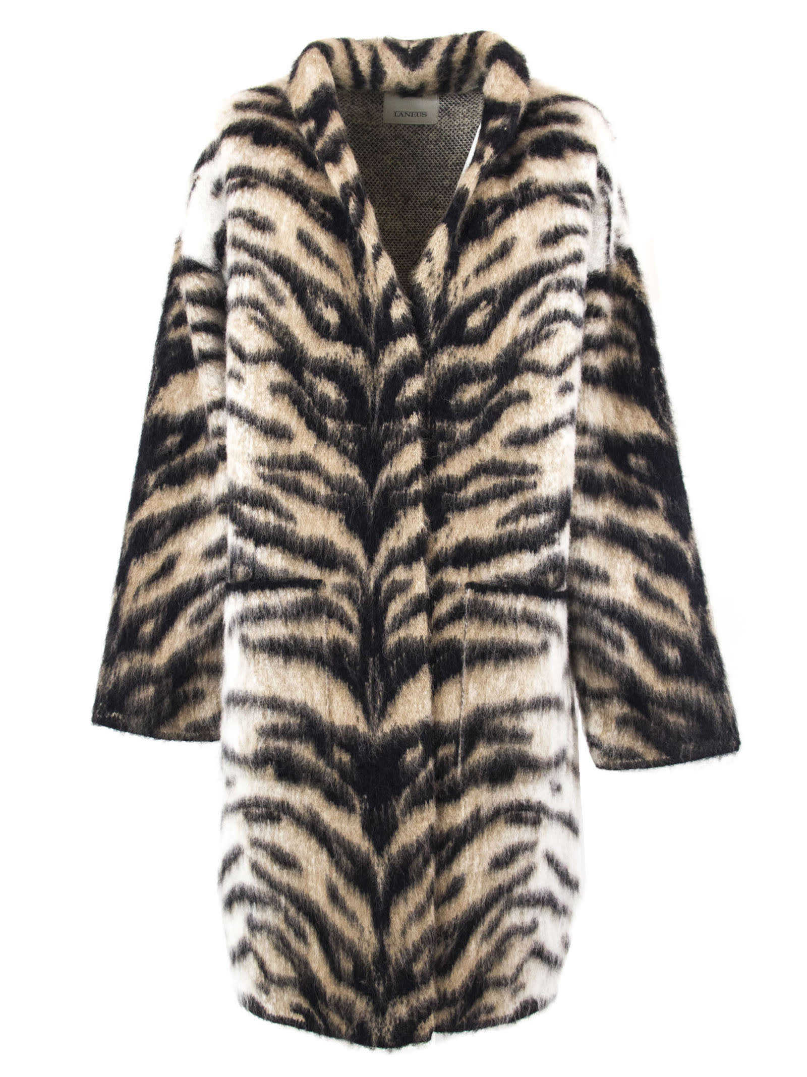 Laneus Beige And Black Tiger Pattern Coat