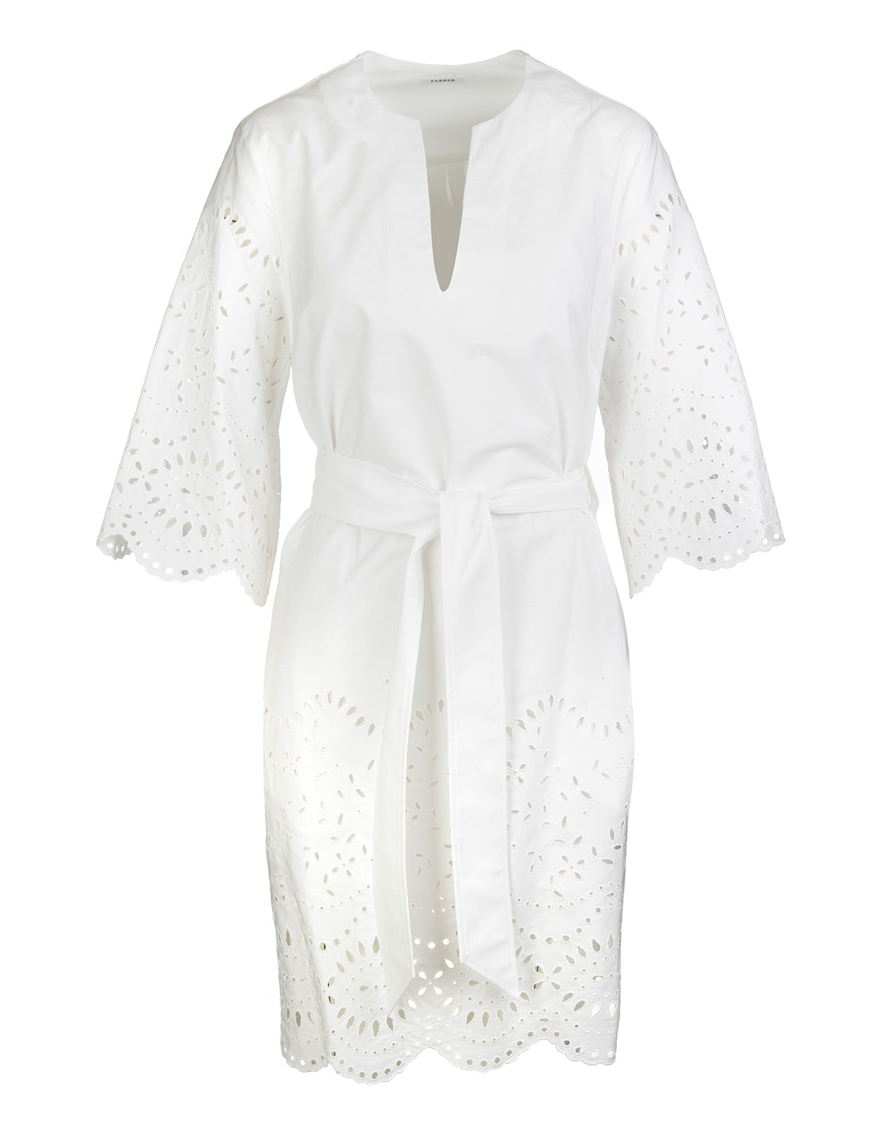 P.a.r.o.s.h. Cottons WHITE MIDI DRESS WITH BRODERIE ANGLAISE AND WIDE SLEEVES
