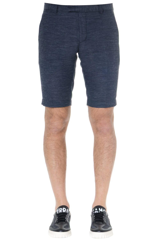 pretty nice b710e 25e52 Calvin Klein Navy Blend Linen Shorts