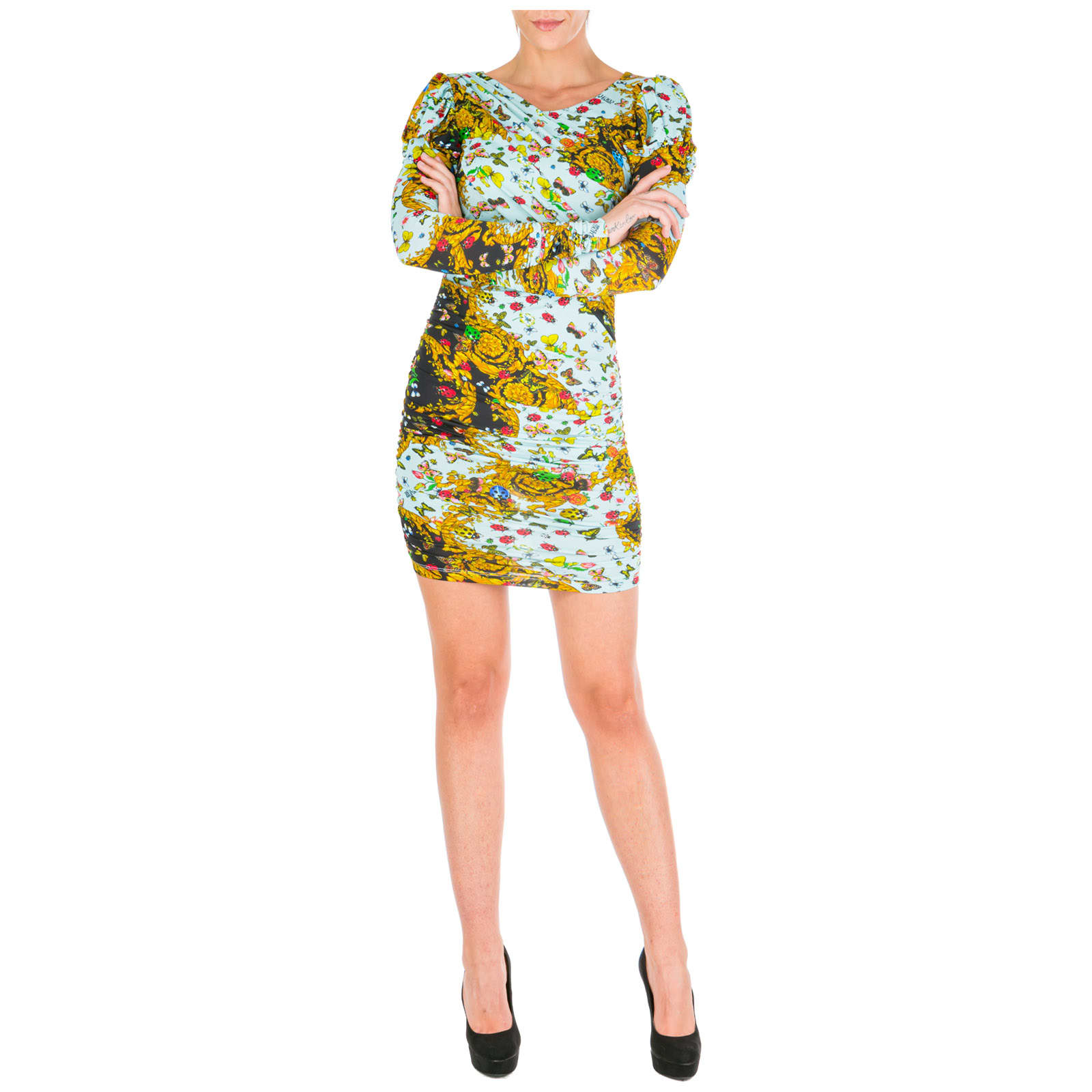 Versace Jeans Couture Knee Length Dress Long Sleeve Ladybug Baroque