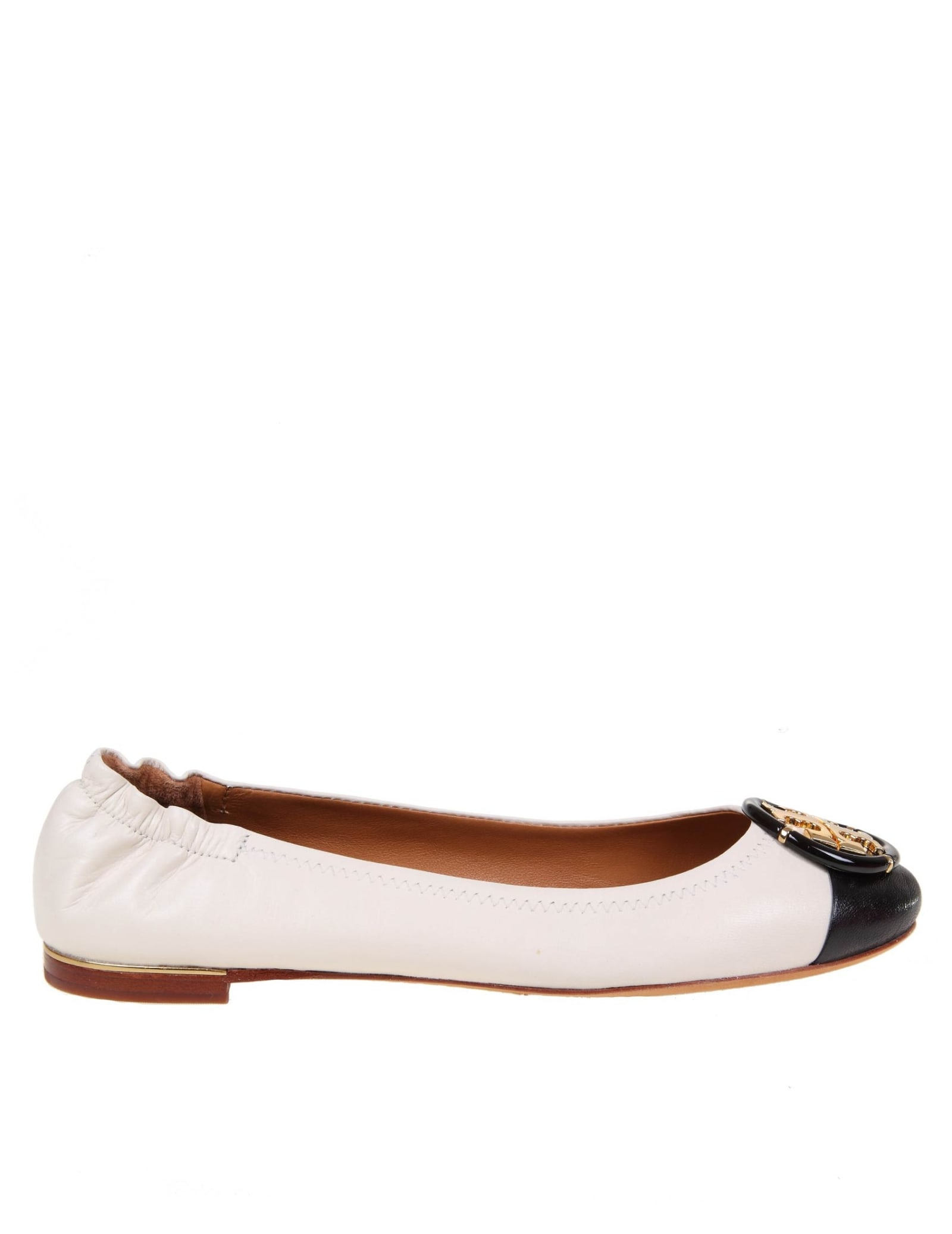 Tory Burch MULTI LOGO BALLERINA IN IVORY COLOR LEATHER