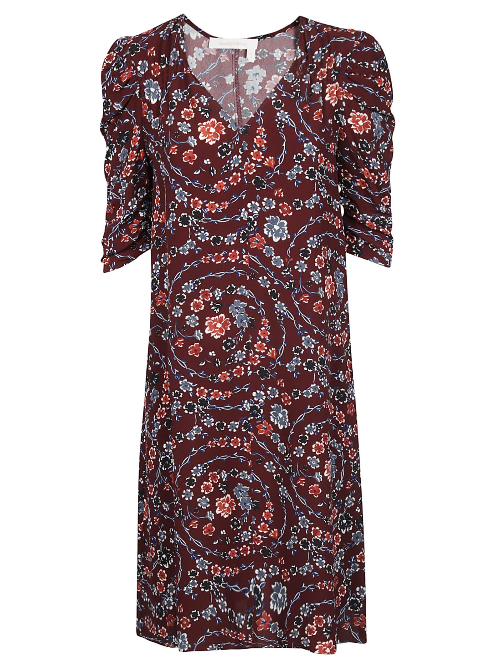 See by Chloé Floral Print Midi Dress
