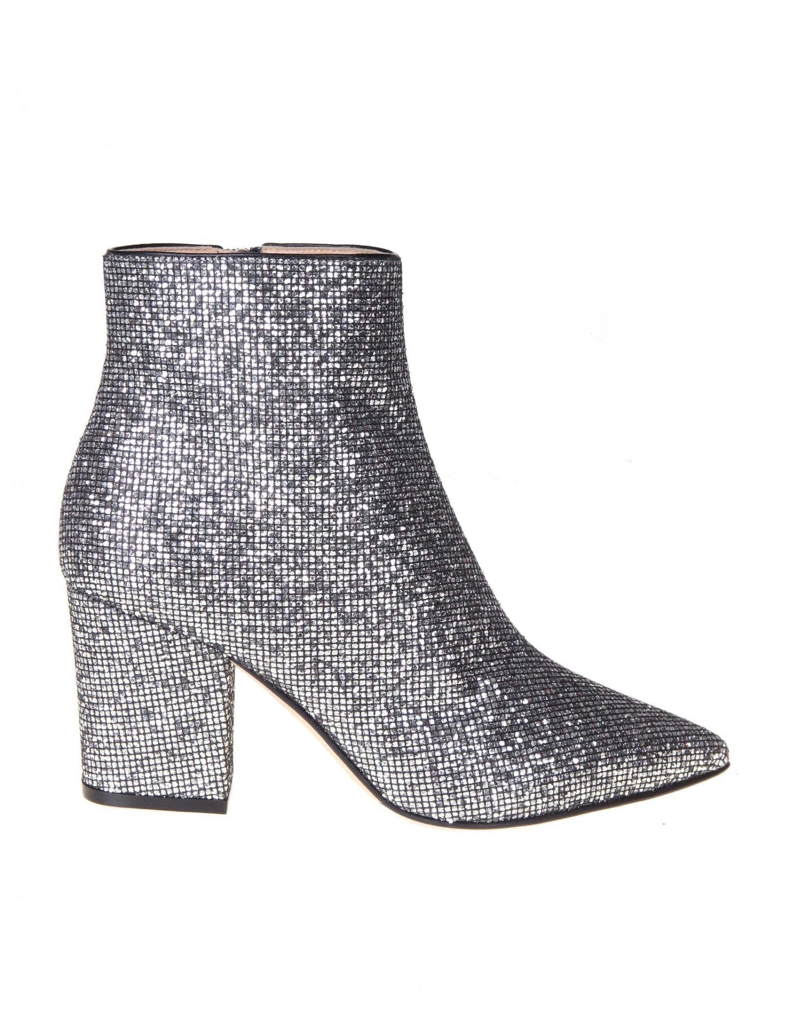 Sergio Rossi STEEL COLOR GLITTER FABRIC ANKLE BOOT