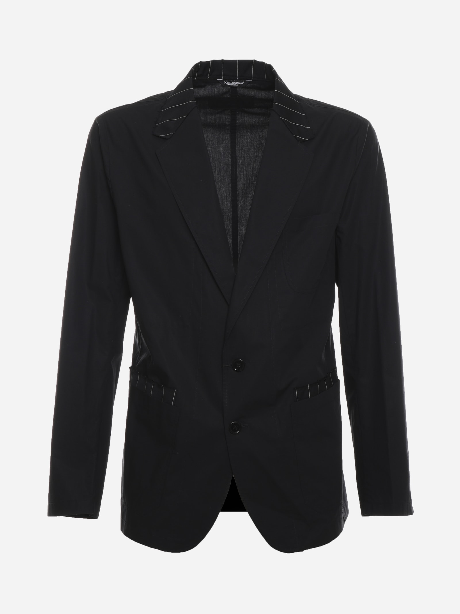 Dolce & Gabbana Single-breasted Jacket In Cotton And Wool With Striped Details
