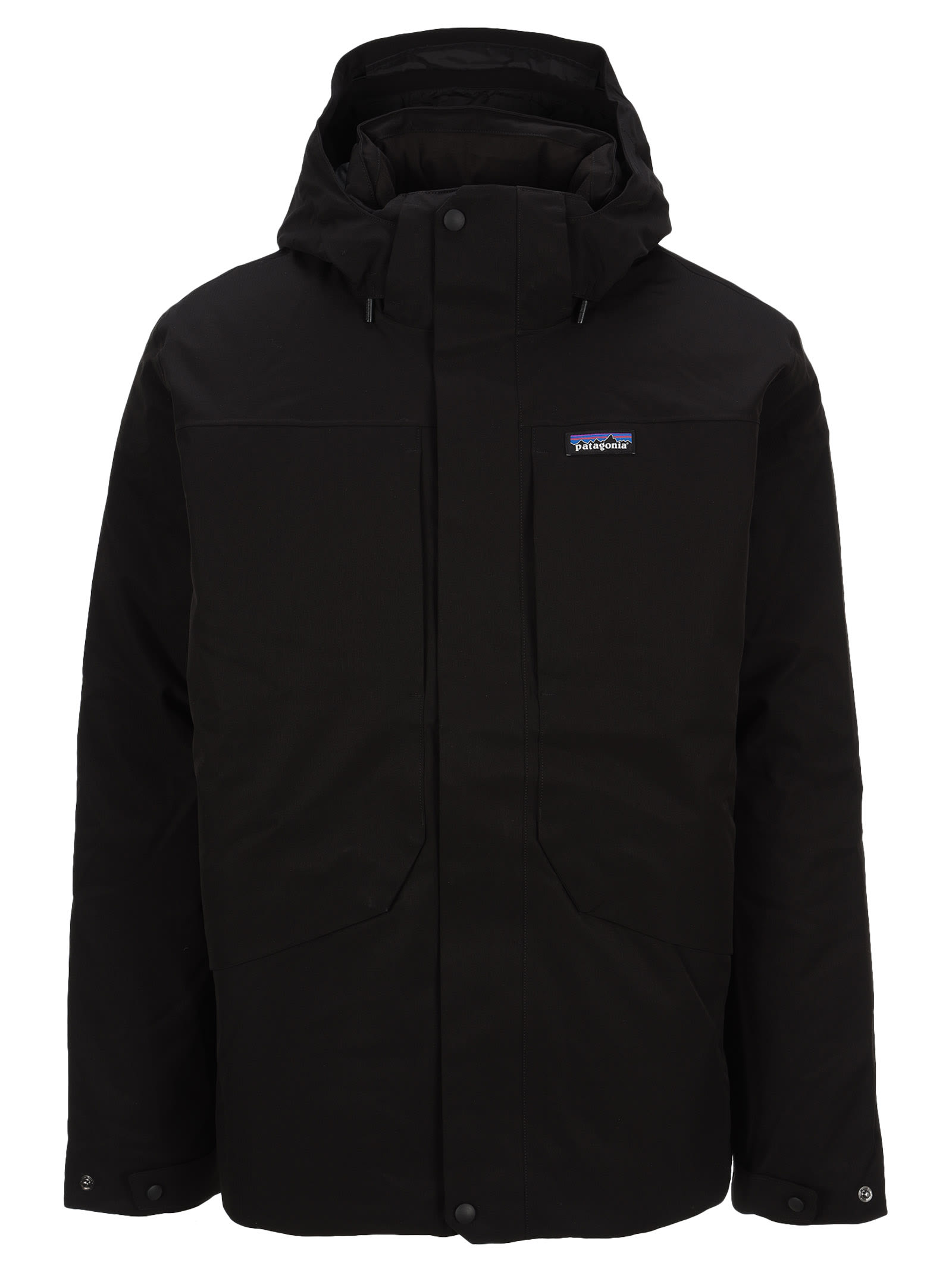 Black Tres Jacket By Patagonia. Featuring: - Drawstring Hood; - Concealed Front Fastening; - Logo Patch At The Chest; - Long Sleeves. Composition: 100% POLYESTER