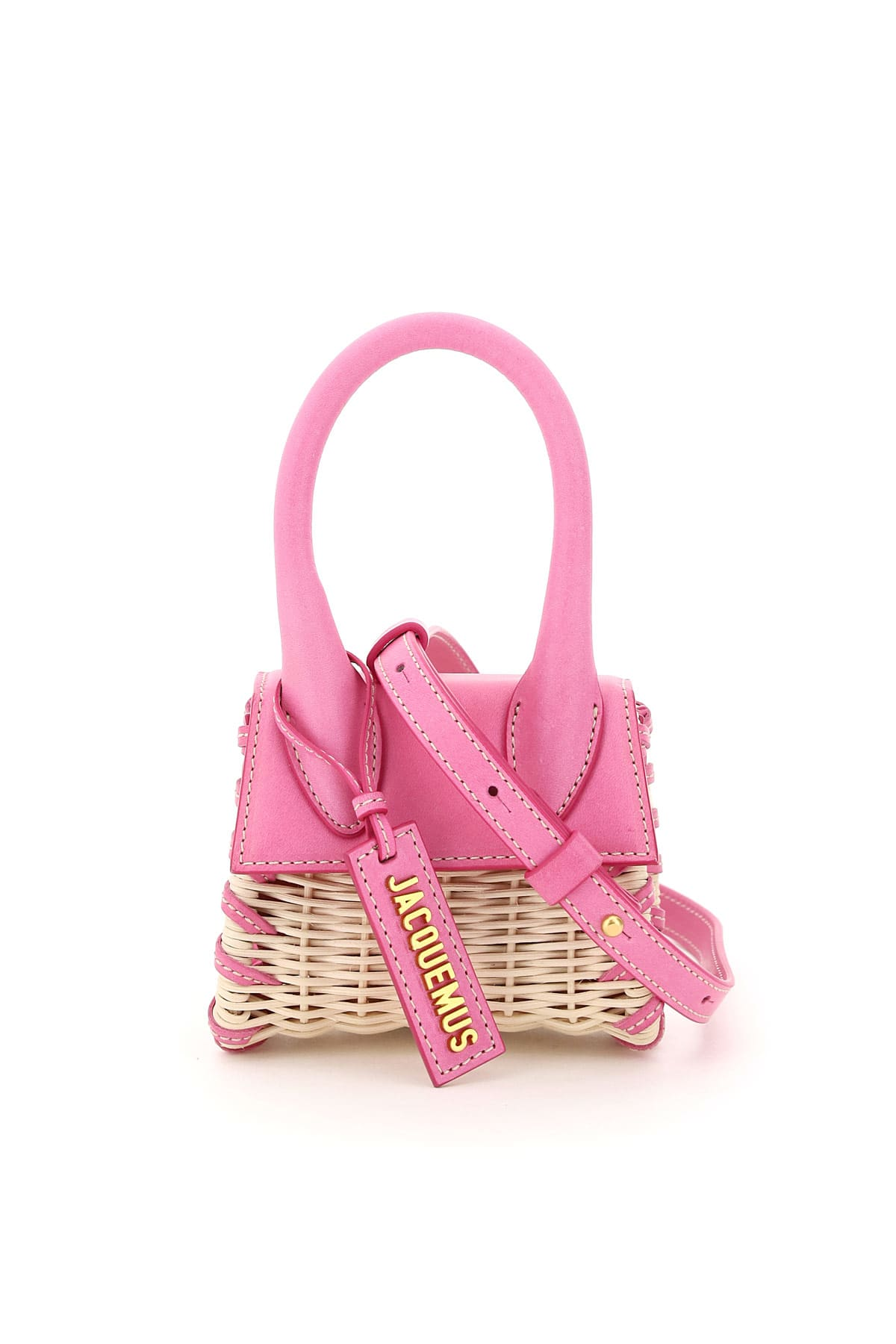 Jacquemus LE CHIQUITO WICKER AND LEATHER MICRO BAG
