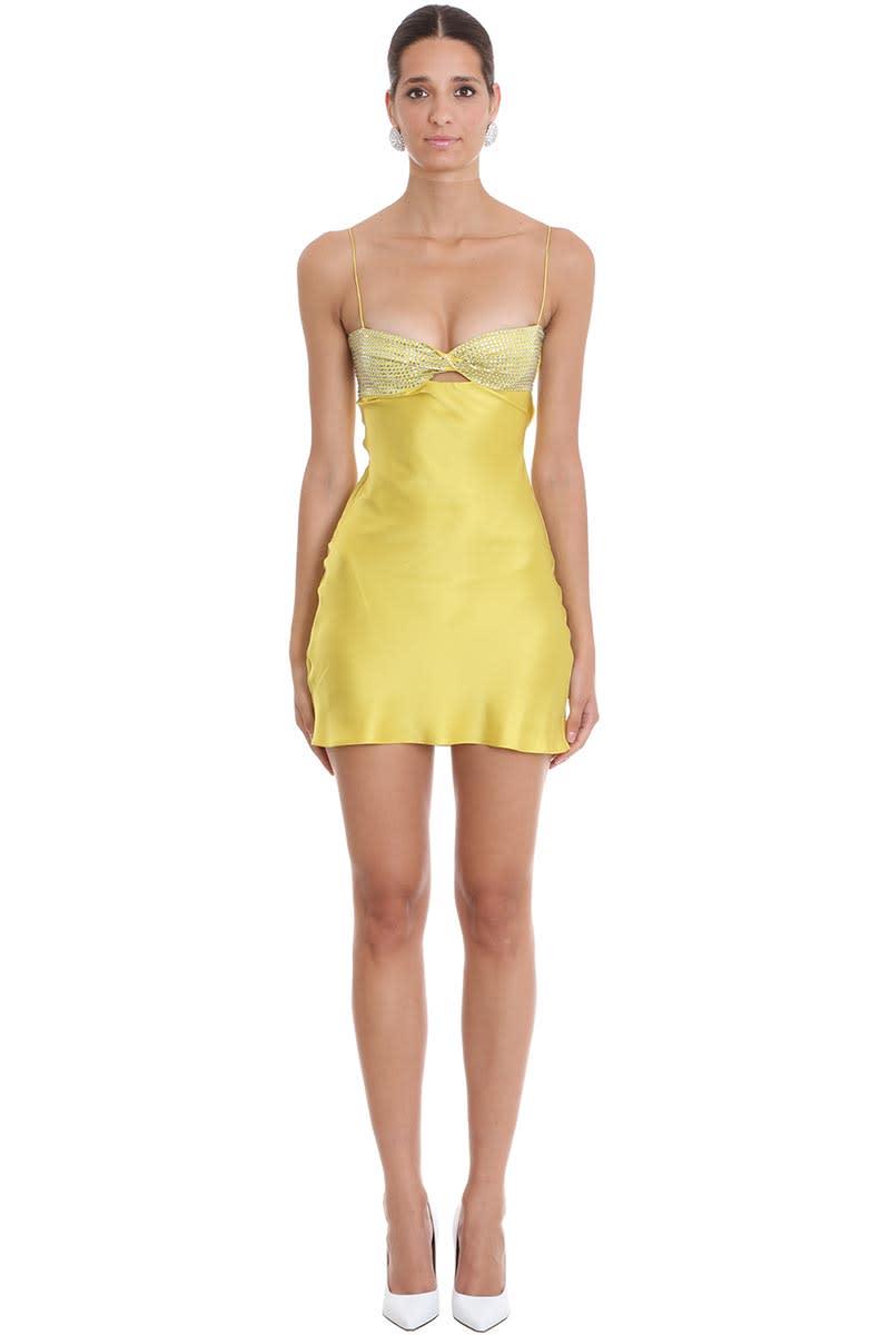 Alessandra Rich Dress In Yellow Silk