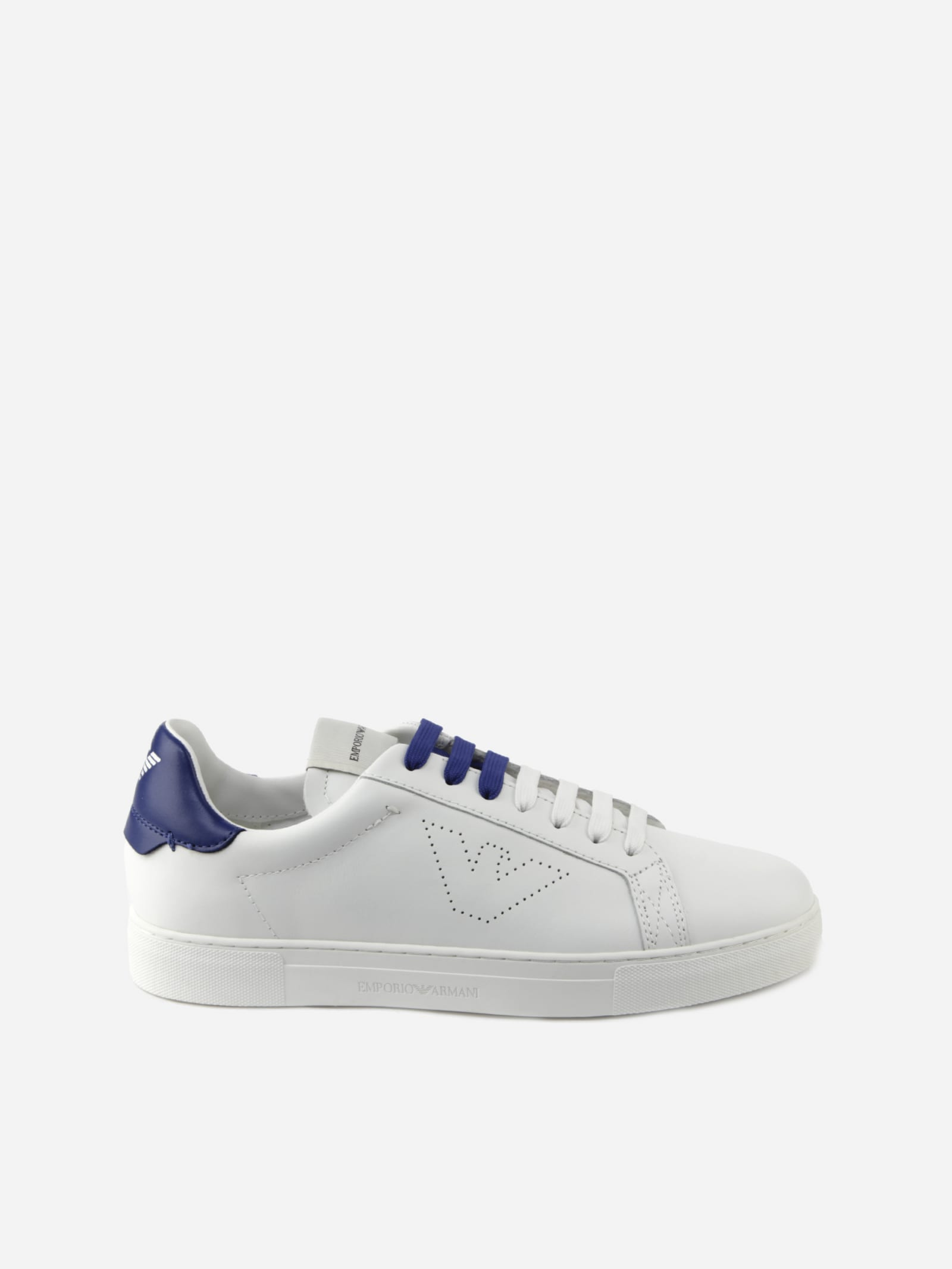 Emporio Armani LEATHER SNEAKERS WITH TWO-TONE LACES