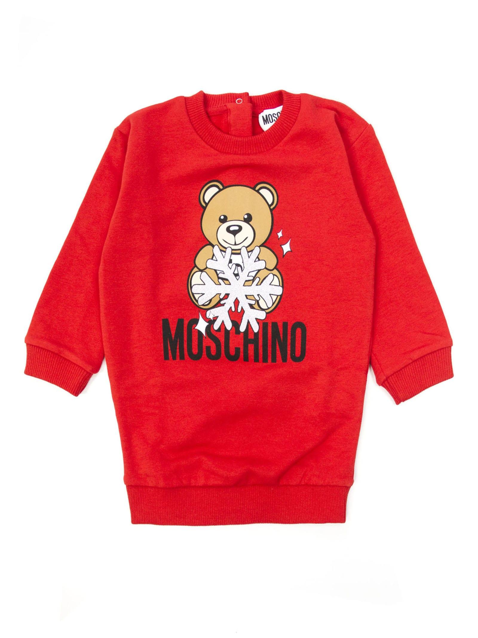 Moschino Red Cotton Sweatshirt Dress
