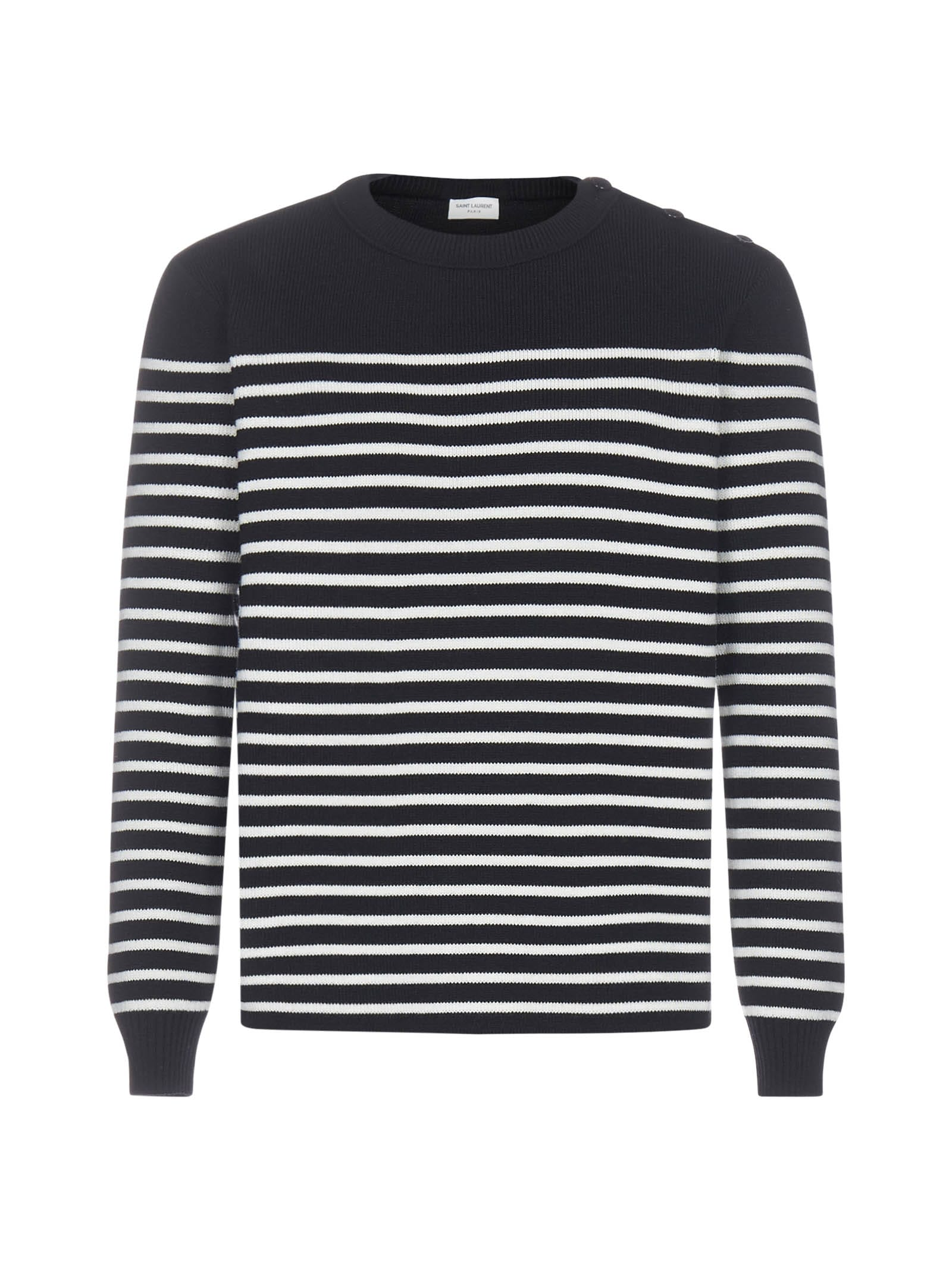 Saint Laurent Striped Wool And Cotton Sweater