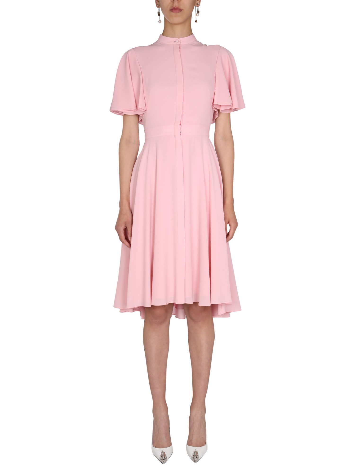 Buy Alexander McQueen Silk Midi Dress online, shop Alexander McQueen with free shipping