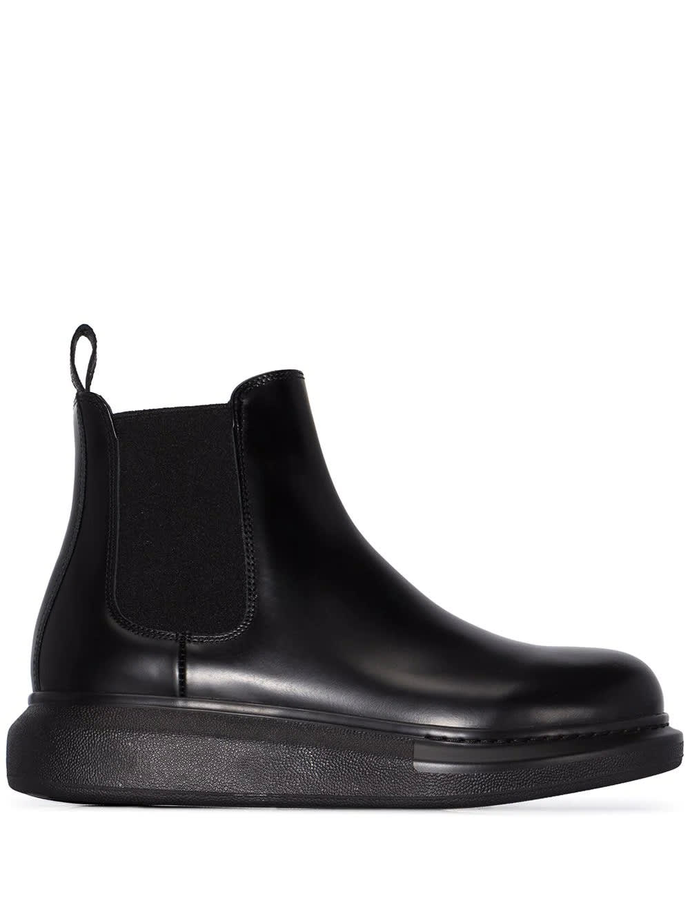 Buy Alexander McQueen Woman Black Chelsea Hybrid Ankle Boot online, shop Alexander McQueen shoes with free shipping