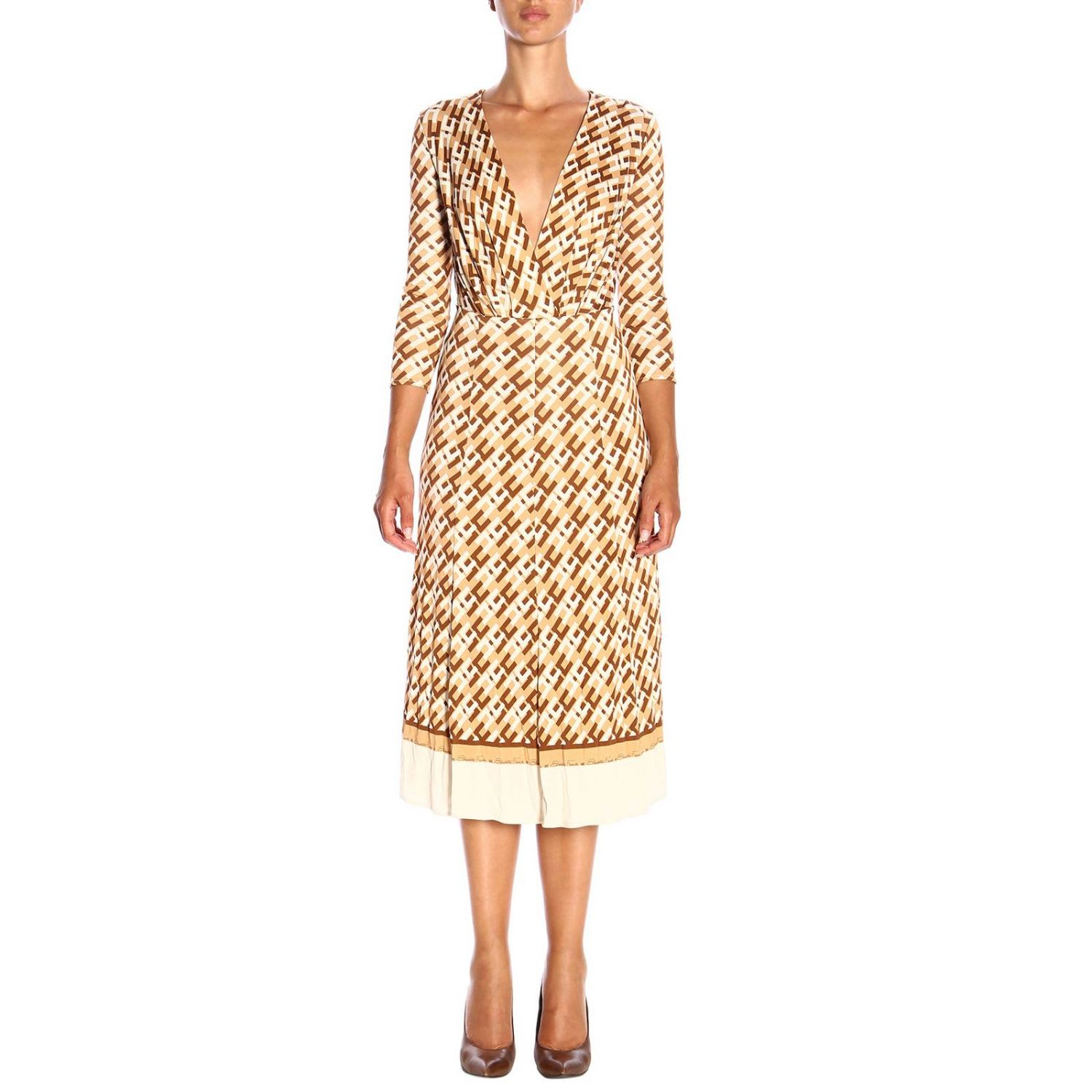 Elisabetta Franchi Dress Elisabetta Franchi Longuette Dress With Long Sleeves In Patterned Jersey