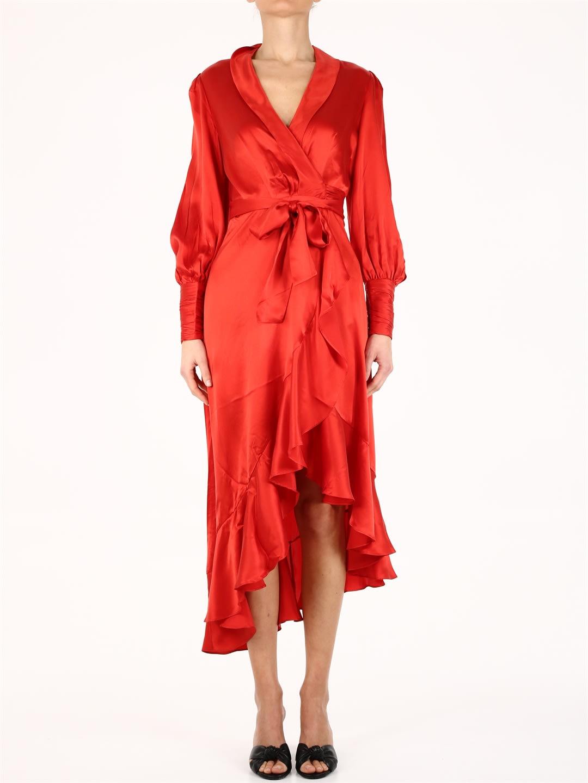 Zimmermann Wrap Midi Dress Red