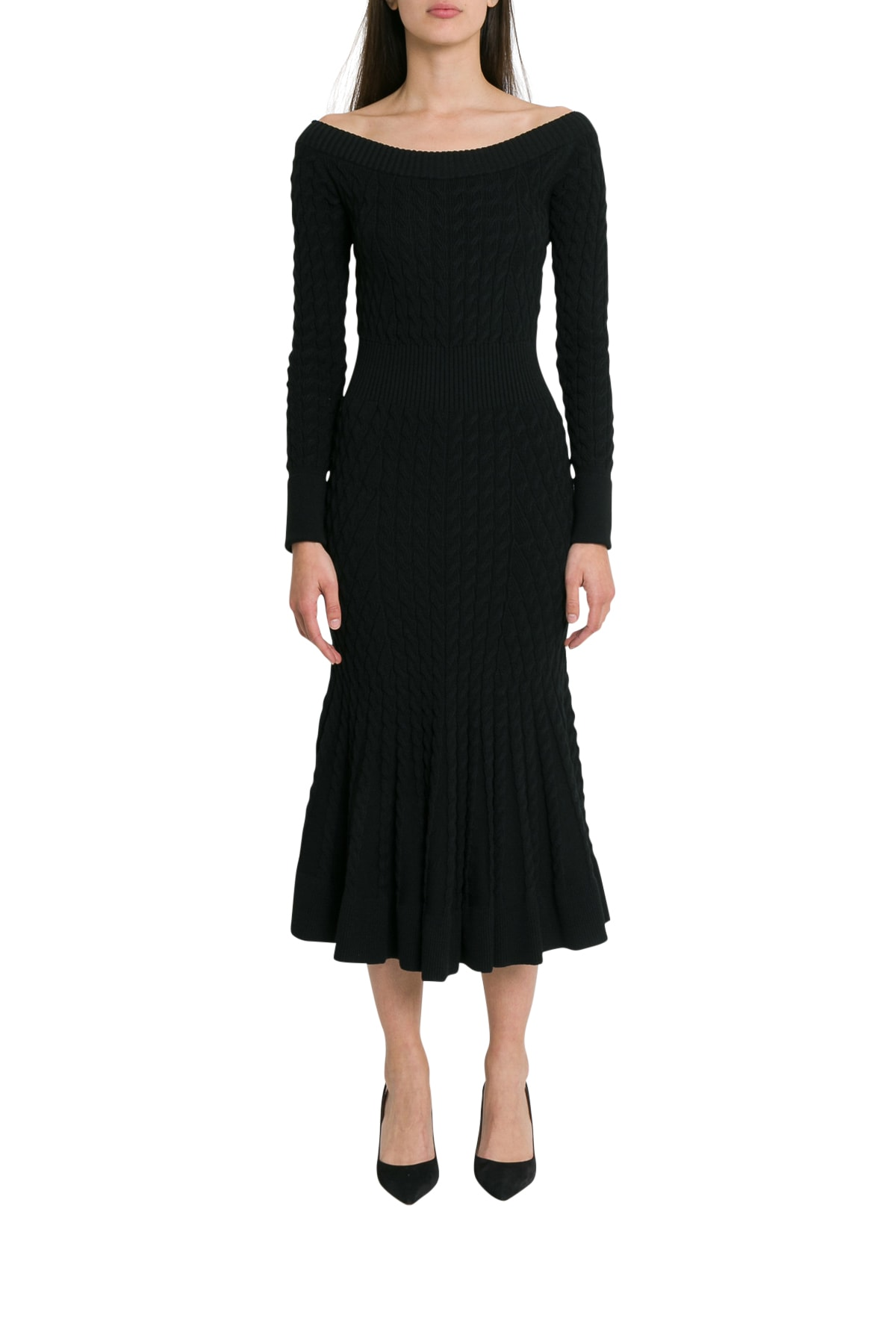 Photo of  Alexander McQueen Cablestitching Knitted Dress With Flared Bottom- shop Alexander McQueen  online sales