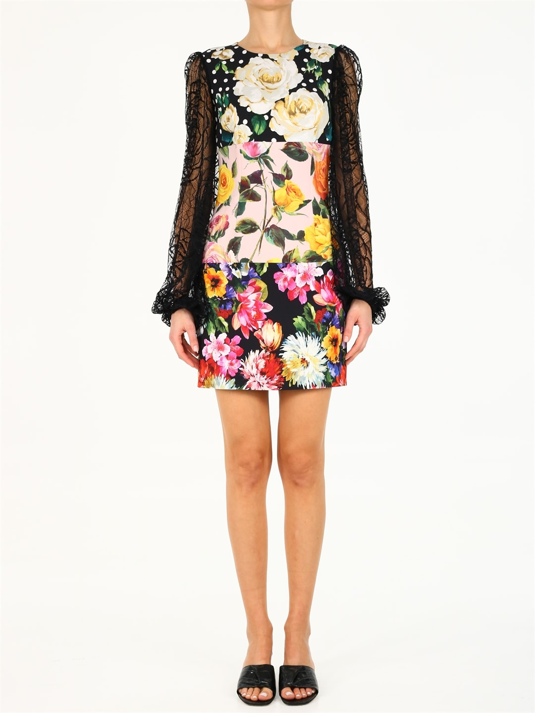 Dolce & Gabbana FLORAL DRESS WITH LACE