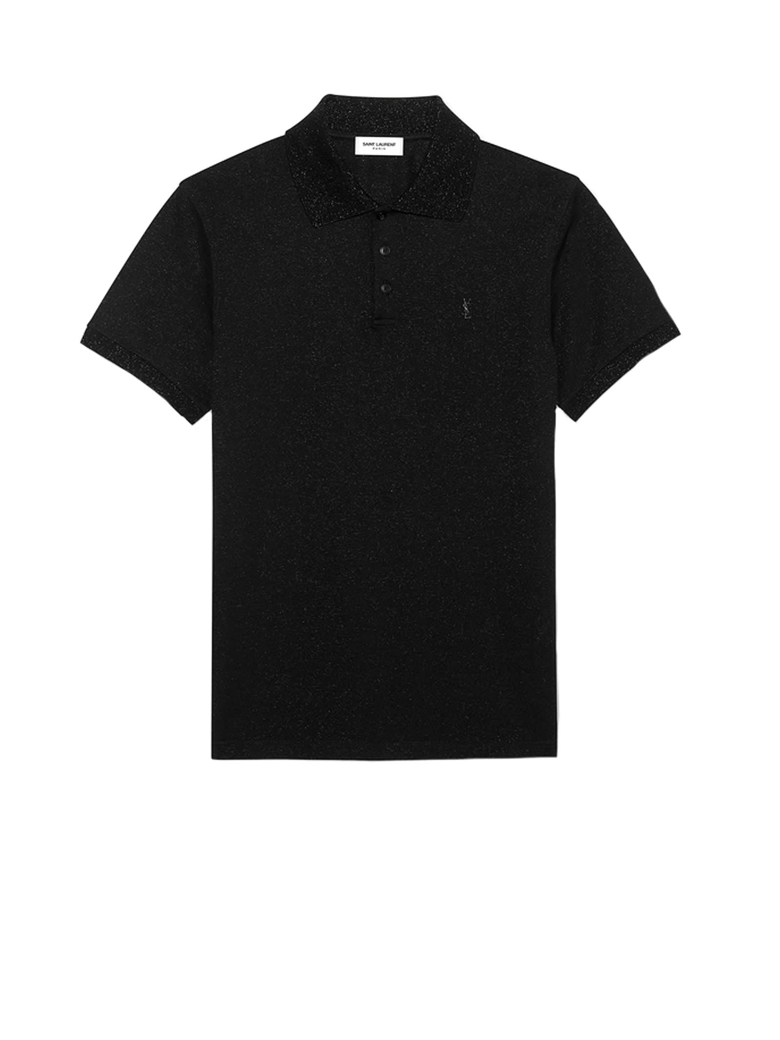Polo from Saint Laurent with monogram in jersey piquè lamè cotton. Composition: 78% Cotone, 13% Poliestere, 9% Poliammide