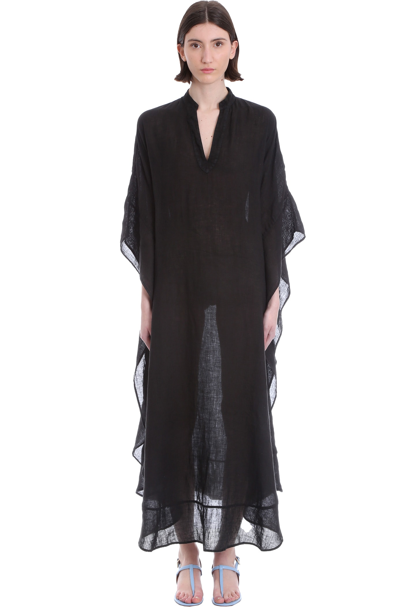 Buy 120% Lino Dress In Black Linen online, shop 120 Lino with free shipping