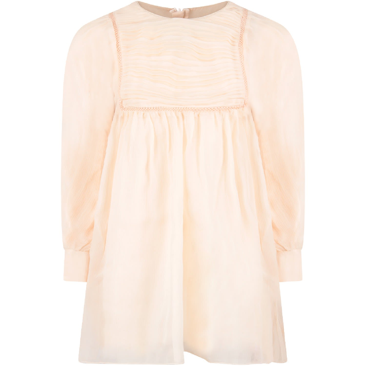 Photo of  Chloé Pink Chiffon Girl Dress- shop Chloé  online sales