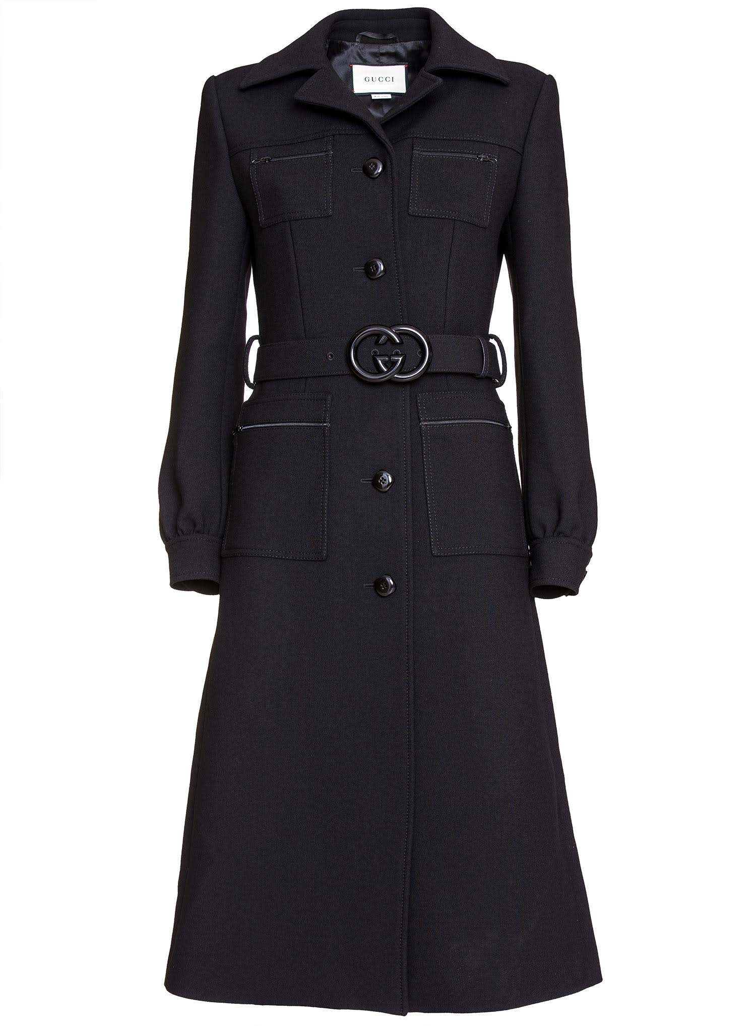 3173e849 Gucci Belted Wool Coat In Black