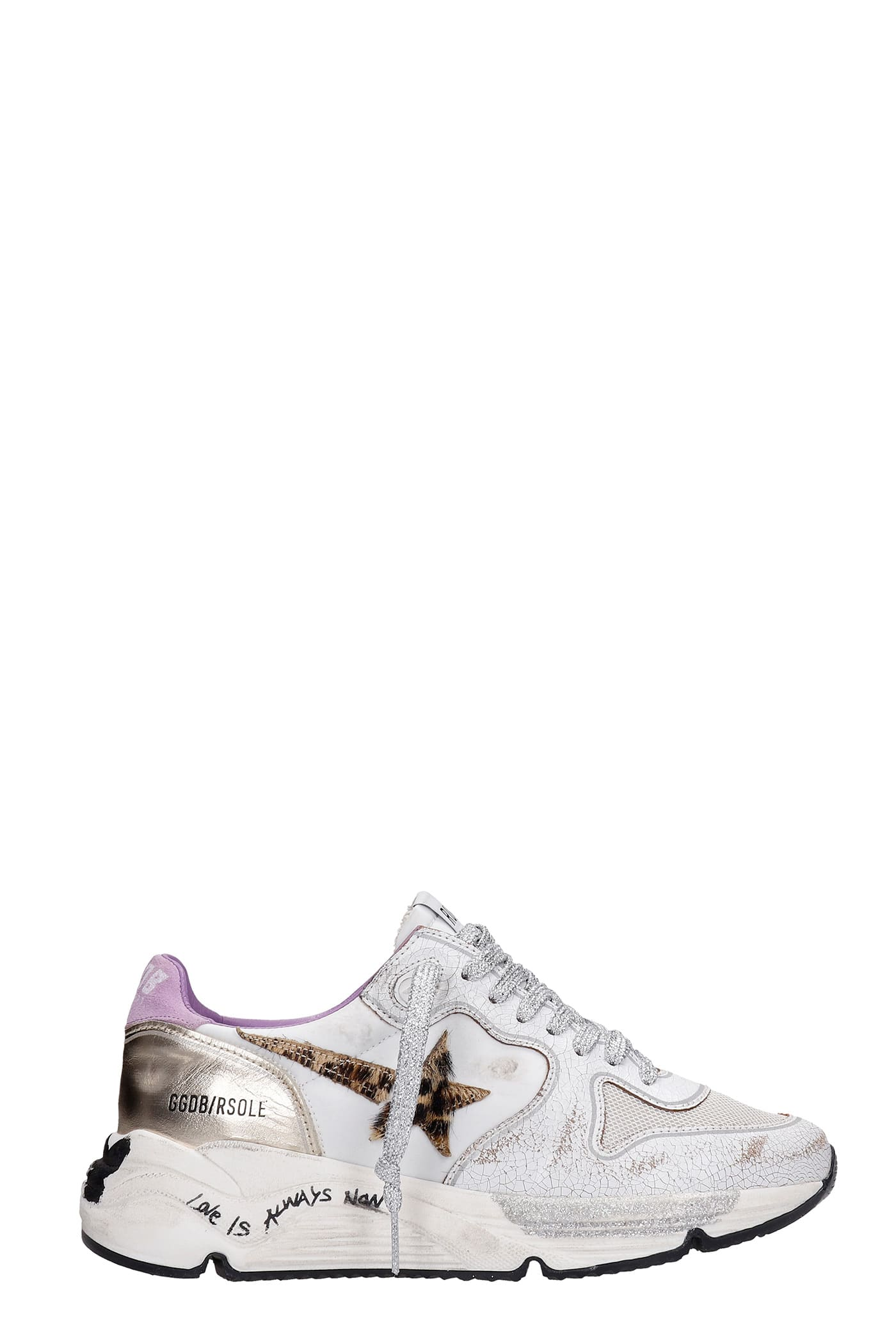 Golden Goose Running Sneakers In White Synthetic Fibers
