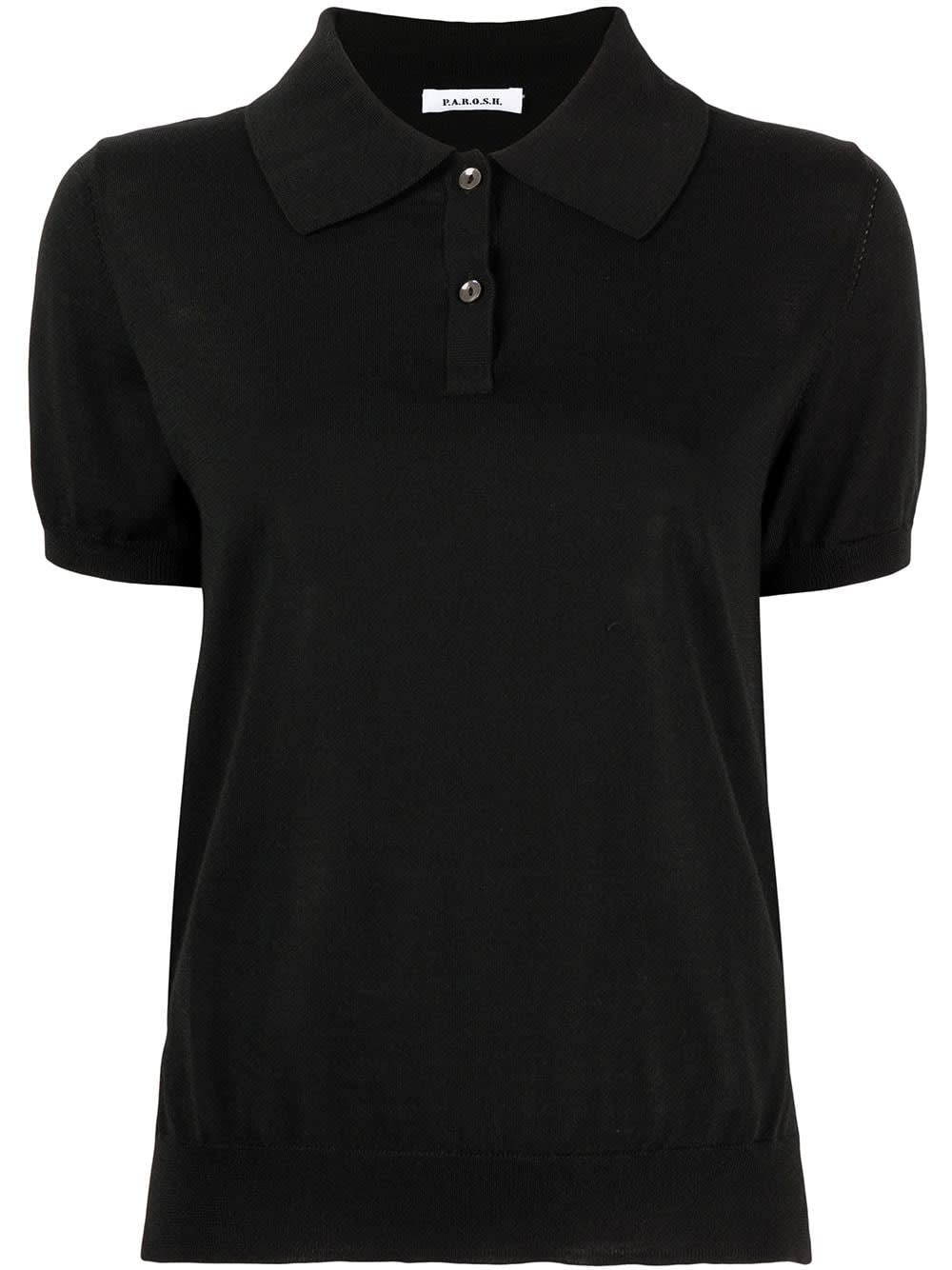 P.a.r.o.s.h. LIPSTER POLO SHIRT IN BLACK WOOL