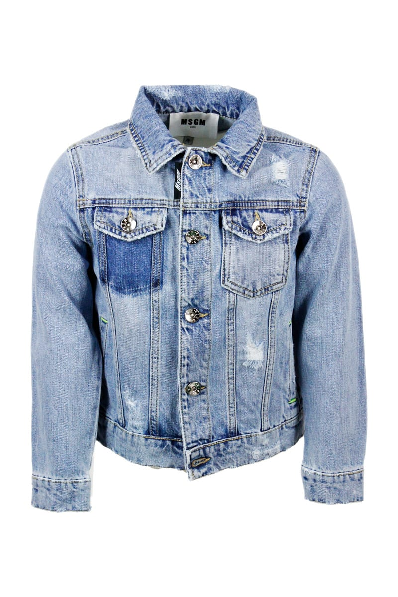 Msgm DENIM JACKET WITH TEARS AND BUTTON CLOSURE
