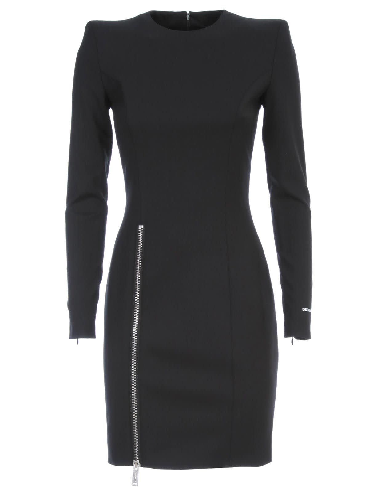 Buy Dsquared2 Dress L/s Arwen Zipped Split Stretch Worsted Wool online, shop Dsquared2 with free shipping