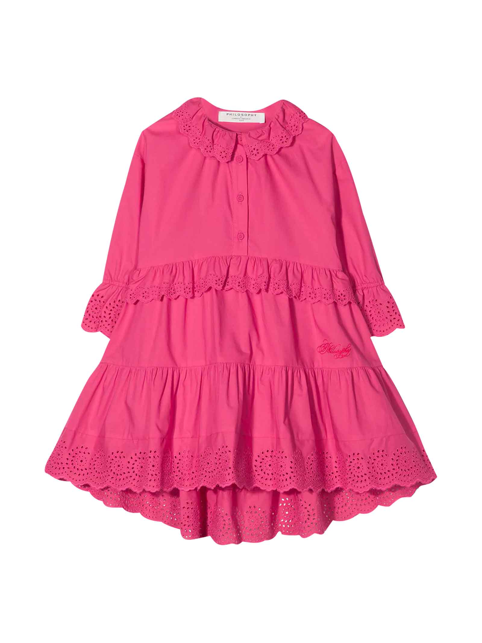 Buy Philosophy di Lorenzo Serafini Kids Fuchsia Teen Dress With Ruffles online, shop Philosophy di Lorenzo Serafini Kids with free shipping