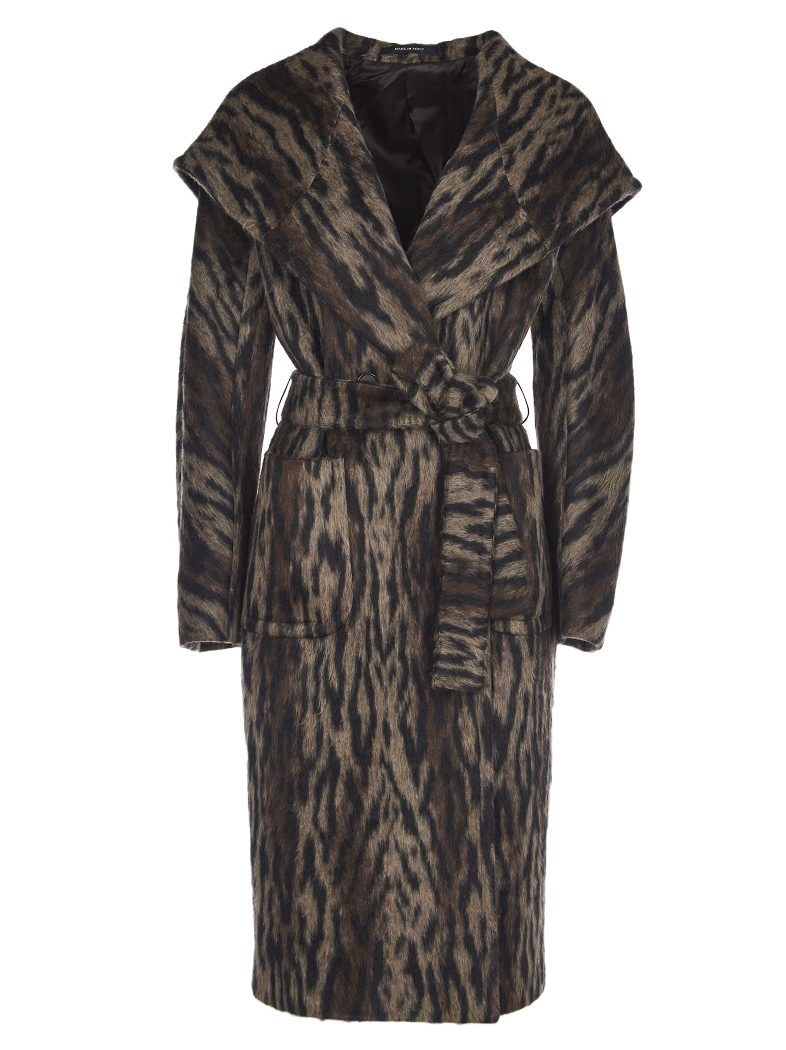 Tagliatore daisy Coat In Brown Zebra Print