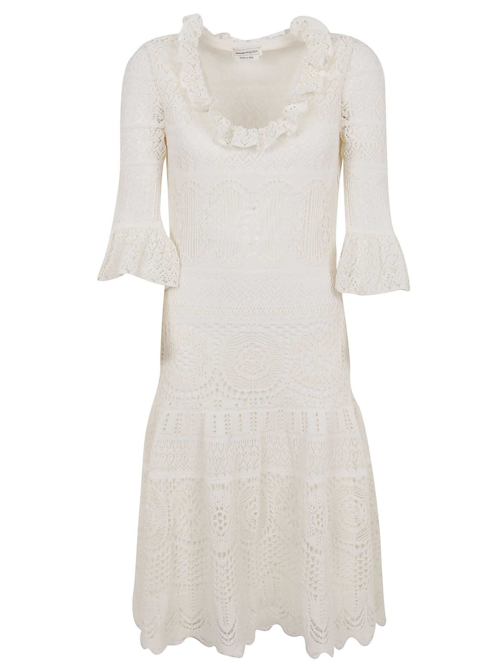Buy Alexander McQueen Engineered Lace Knitted Dress online, shop Alexander McQueen with free shipping