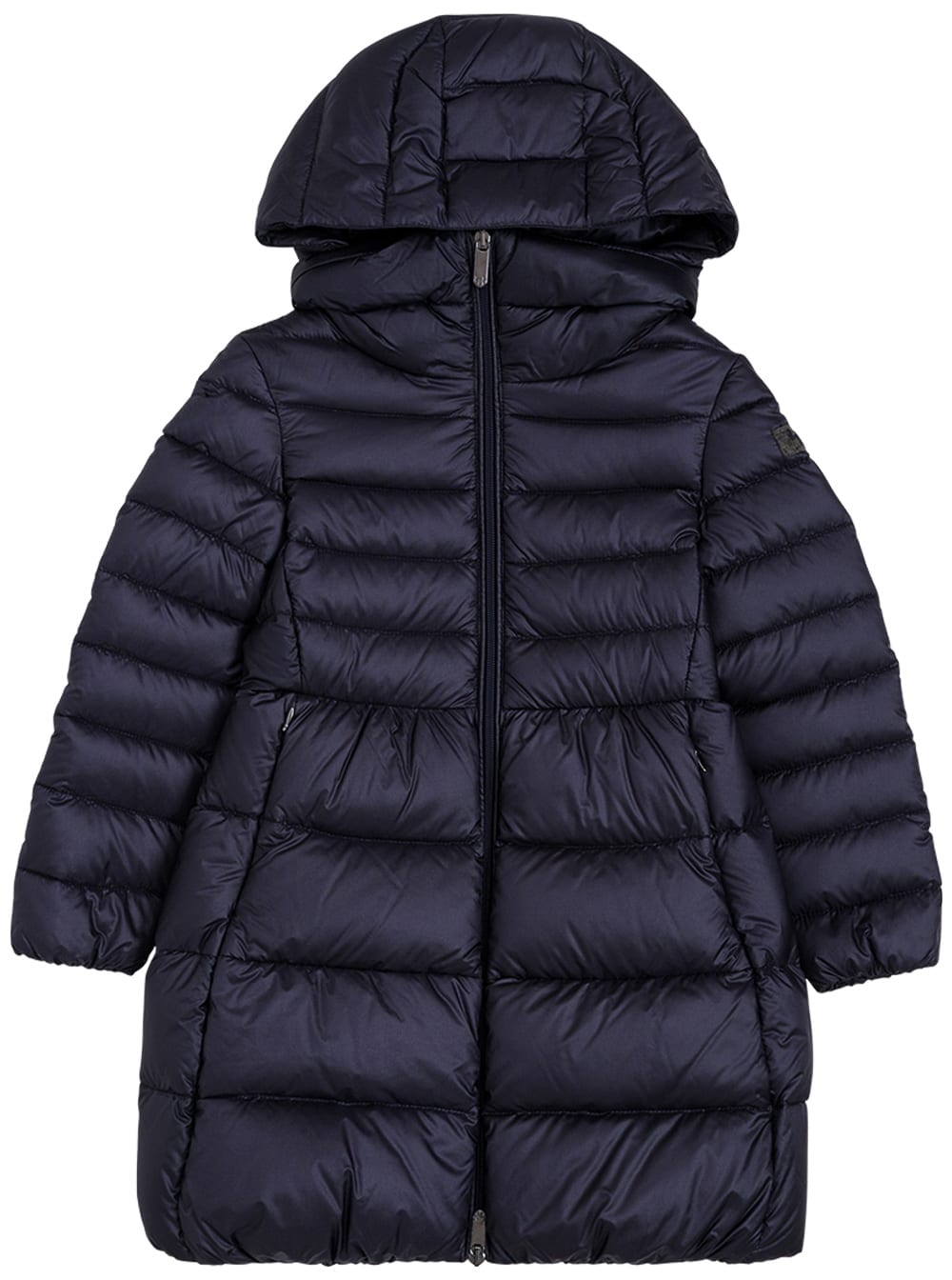Long Quilted Blue Nylon Down Jacket