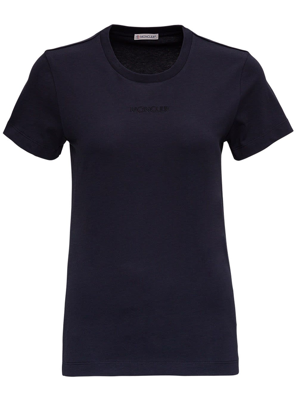 Moncler Jersey T-shirt With Logo Inlay In Blu