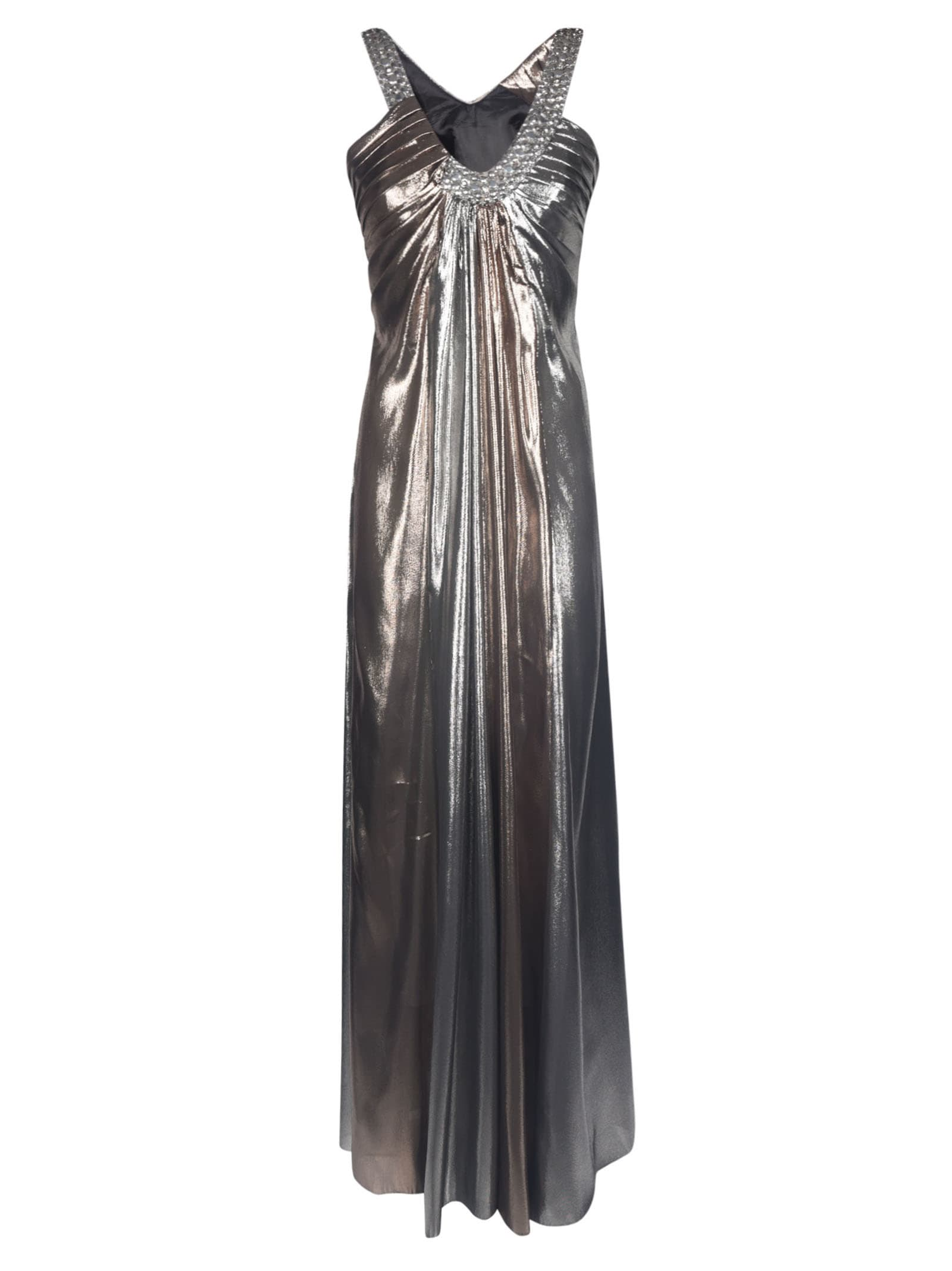 Alberta Ferretti Metallic Long Sleeveless Dress