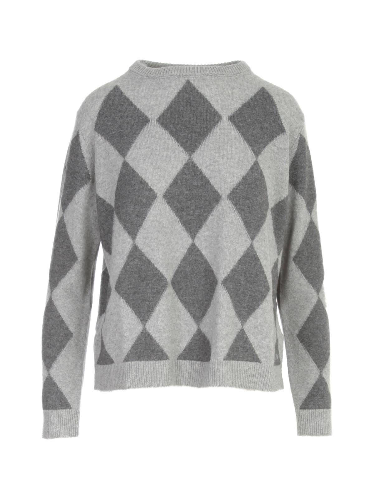 Bicolored Rhombus Printing Sweater