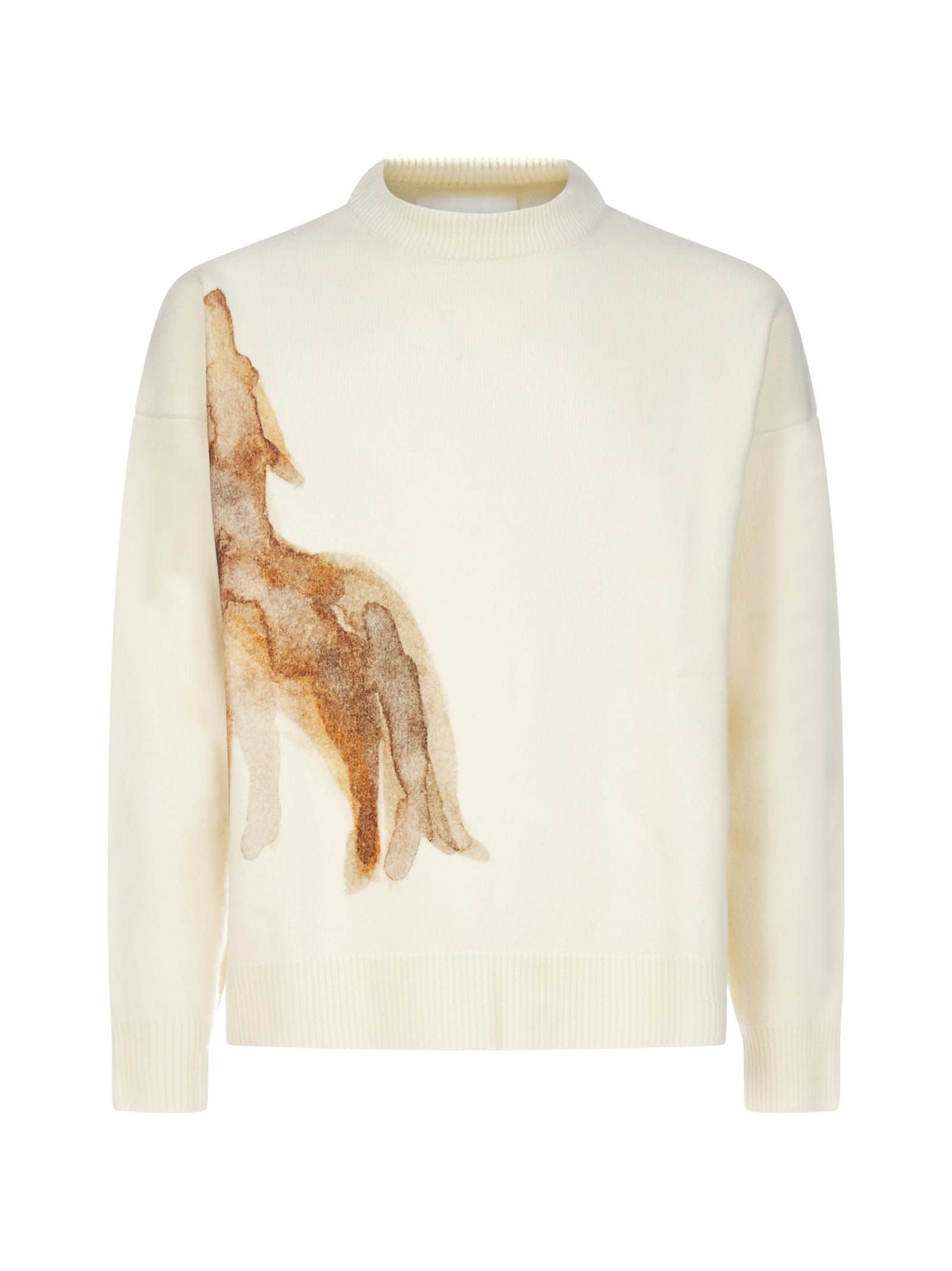 Jil Sander Coyote Print Virgin Wool Sweater