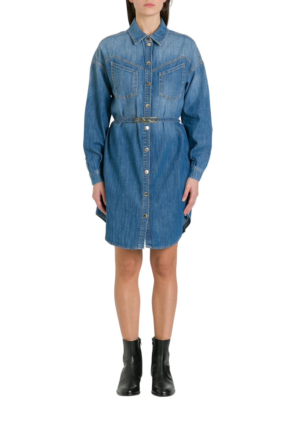 Buy Pinko Denim Pinafor Dress With Logo Belt online, shop Pinko with free shipping