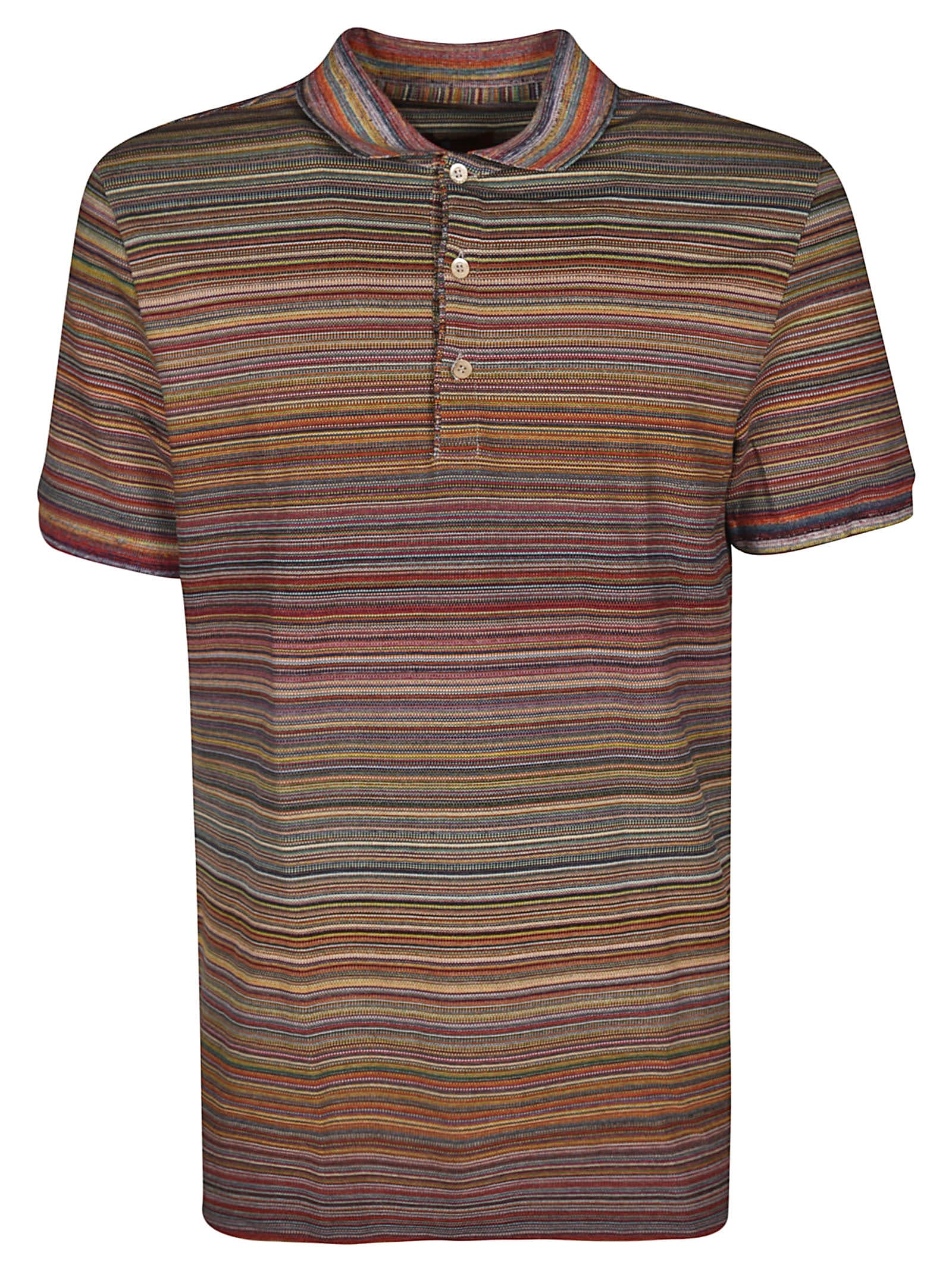 1c3c193a93e95 Missoni Short Sleeve Polo Shirt In Bianco/Nero | ModeSens