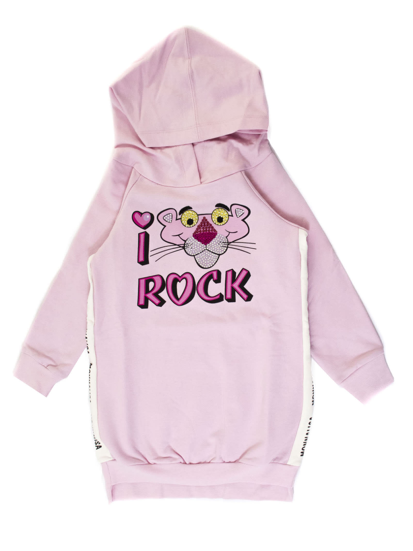 Monnalisa Pink Cotton Blend Pink Panther Hooded Dress