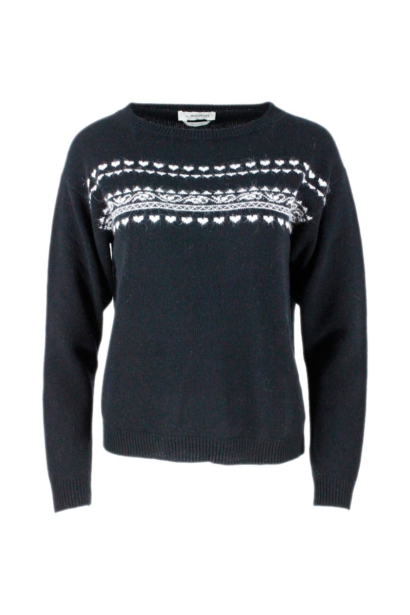 Crewneck Sweater In Wool Blend With Jacquard Motif In Contrasting Color