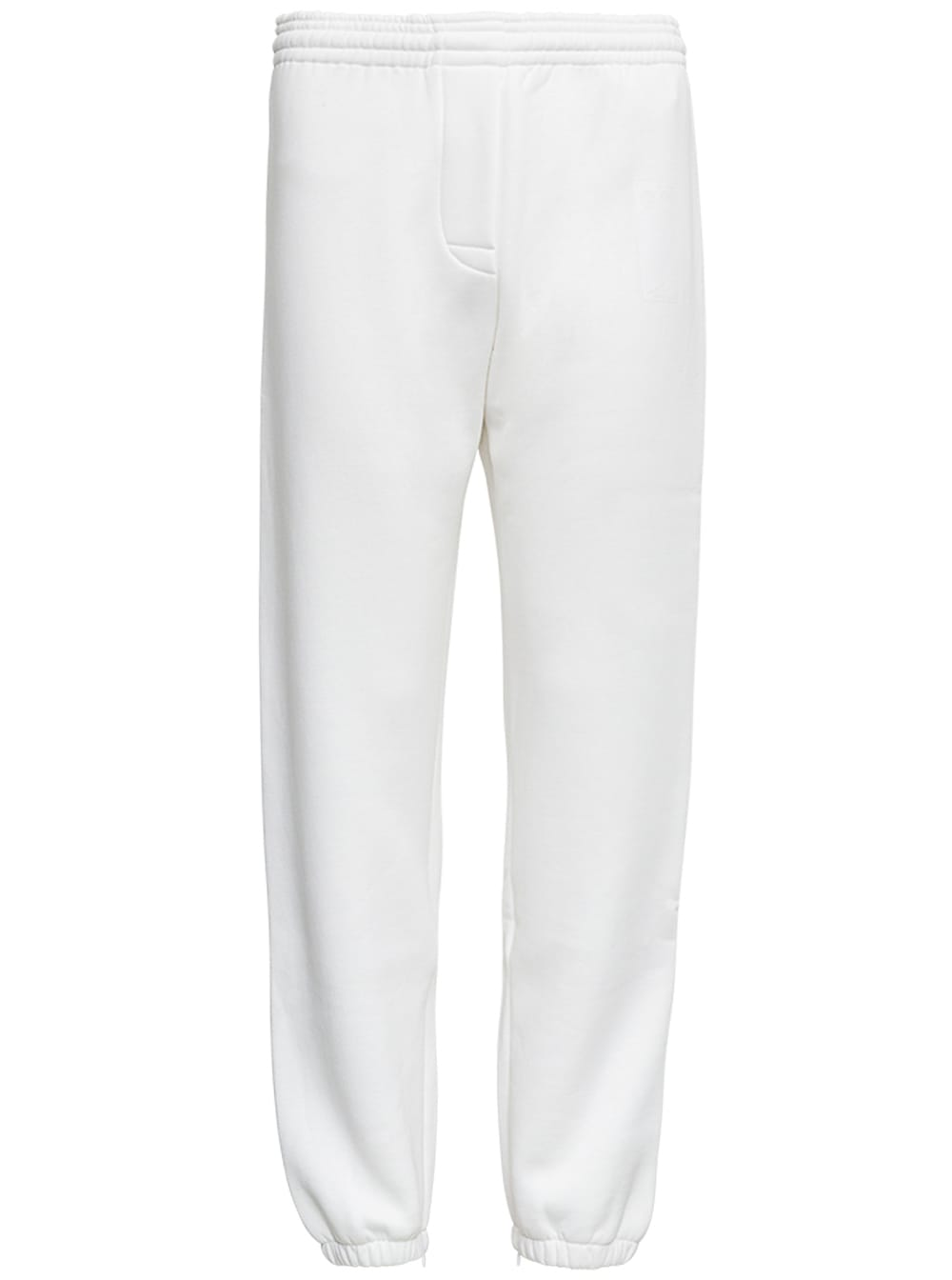 White Cotton Joggers With Drawstring
