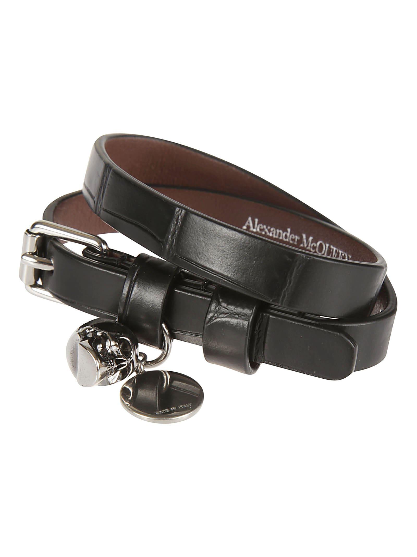 Alexander Mcqueen Double Wrap Bracelet In Black