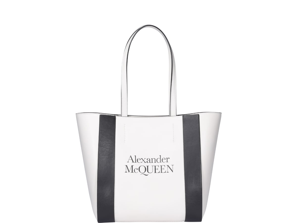 Alexander Mcqueen Signature Shopping Bag Small In White