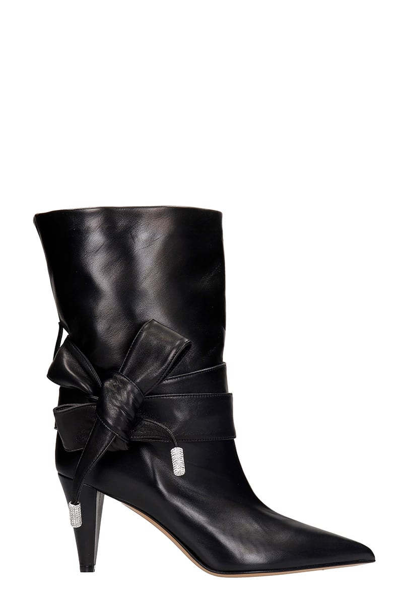 Alexandre Vauthier Leathers HIGH HEELS ANKLE BOOTS IN BLACK LEATHER