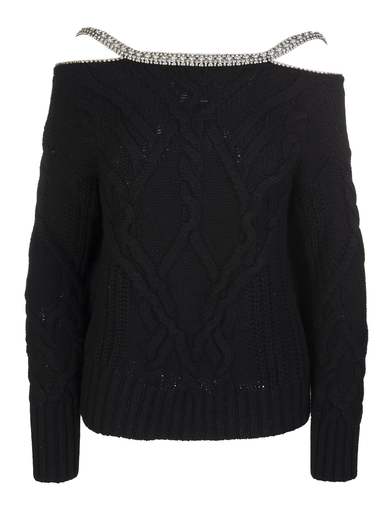 Black Sweater With Jewel Straps