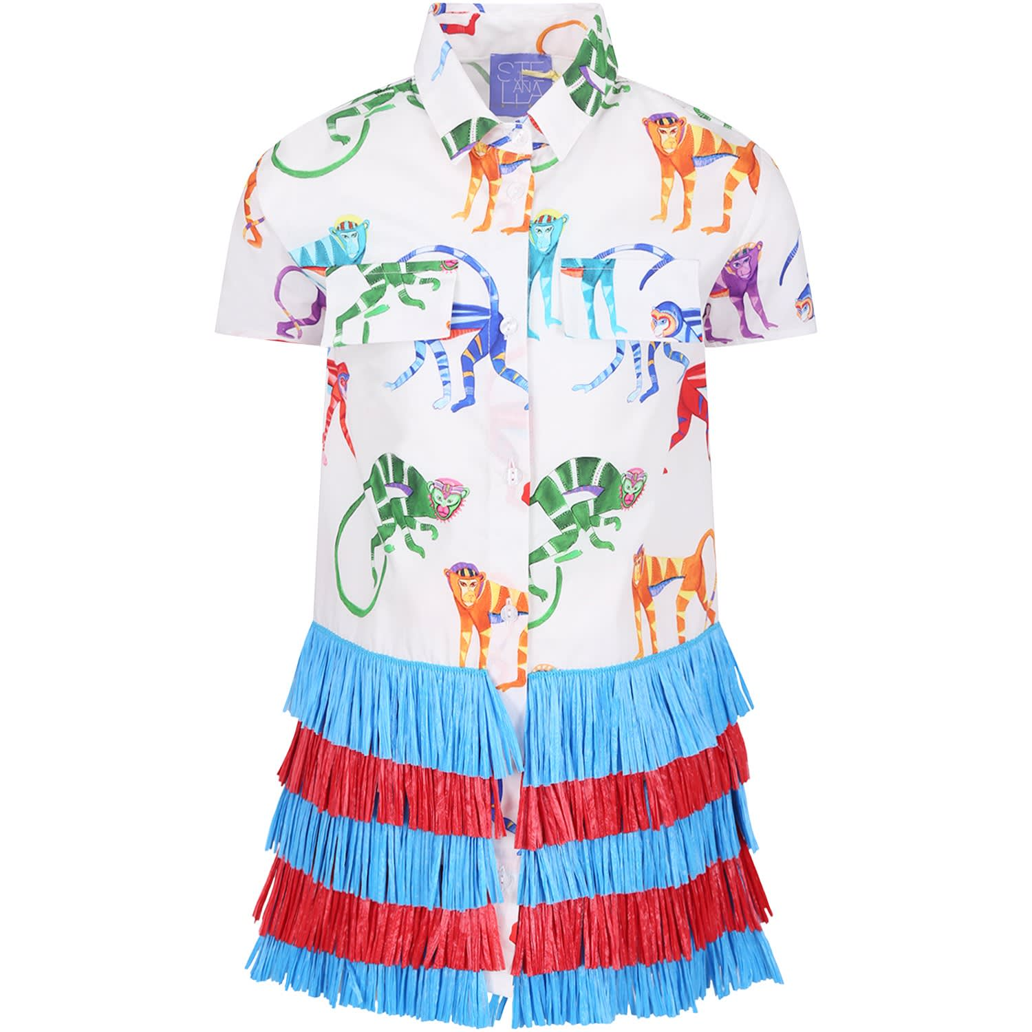Stella Jean White Girl Dress With Colorful Monkeys