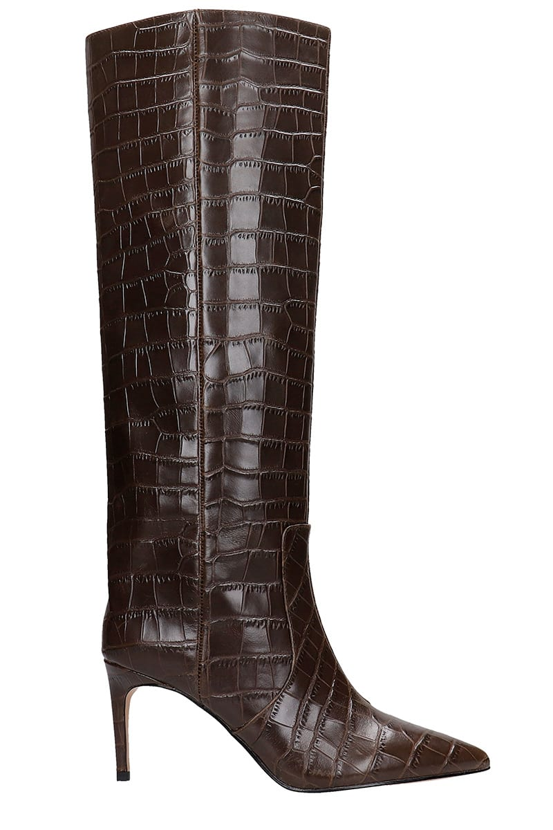 Kurt Geiger HIGH HEELS BOOTS IN BROWN LEATHER