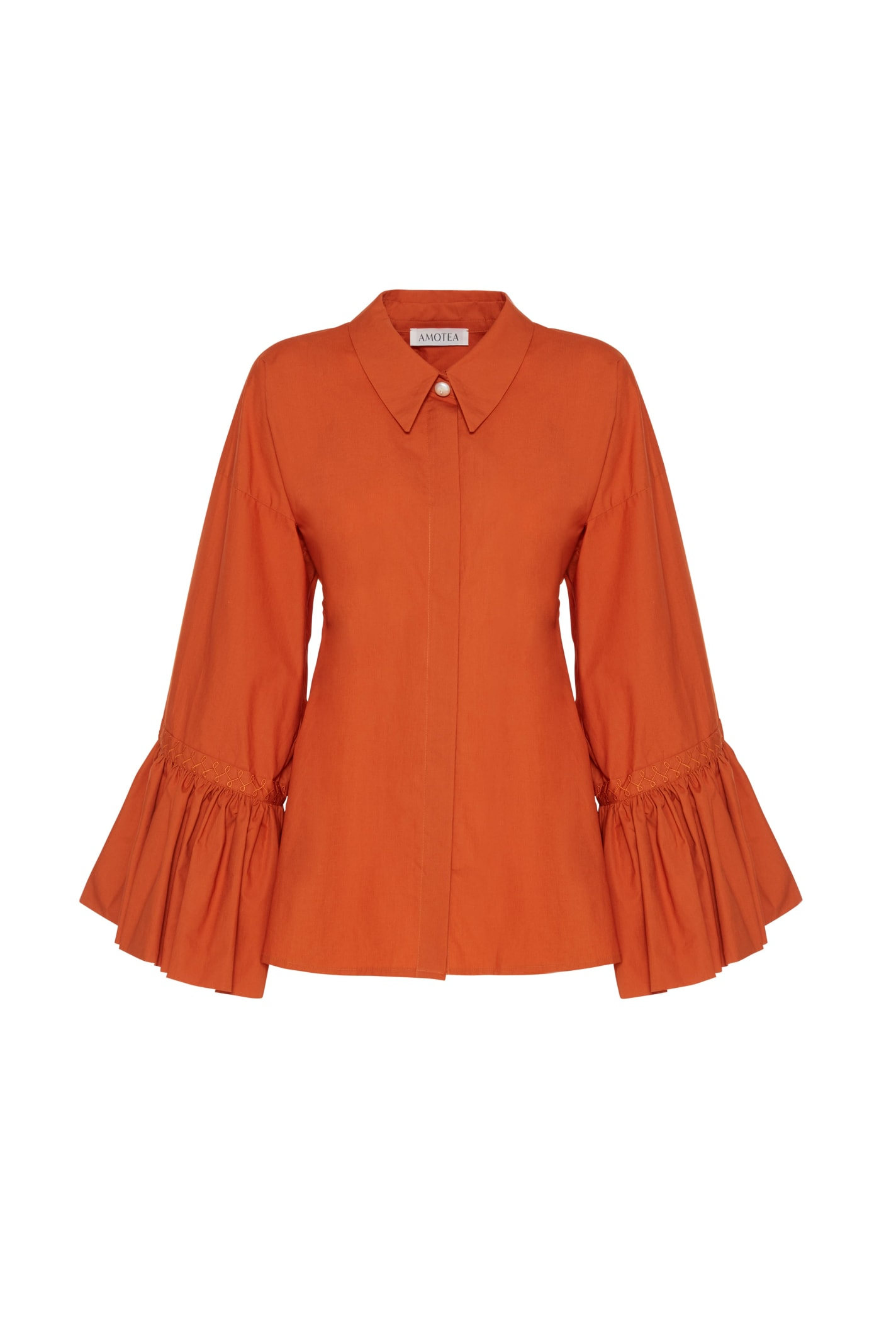 Claudia Shirt In Orange Poplin