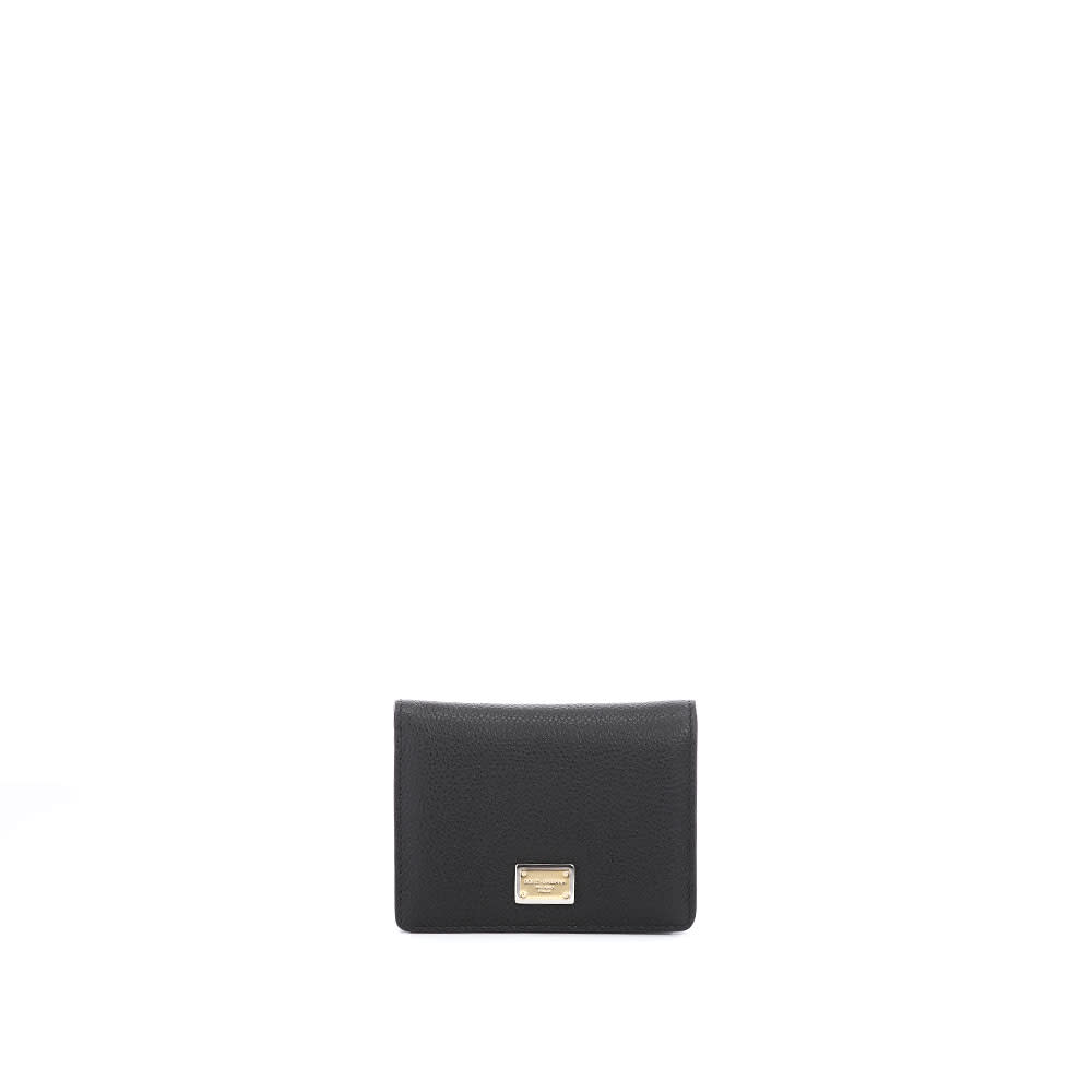 Dolce & Gabbana SMALL CONTINENTAL WALLET IN DAUPHINE CALFSKIN WITH BRANDED TAG