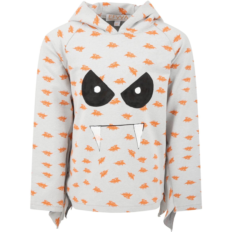 Grey Sweatshirt For Kids With Bats